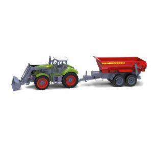 RayLine Tracteur radiocommandé avec remorque benne rouge