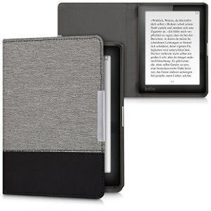 Kwmobile Housse canvas pour Kobo Aura Edition 1 - E-Book case cover en lin étui de protection en gris noir