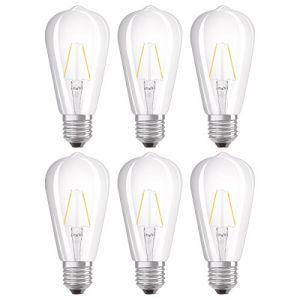 Osram Ampoule LED Filament, Forme Edison, Culot E27, 2W Equivalent 25W, 220-240V, claire, Blanc Chaud 2700K, Lot de 6 pièces