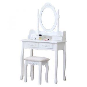 Coiffeuse classique blanche + tabouret - L 75 cm - Panneaux particules blanc - Coiffeuse L75 x P40 x H144 cm, tabouret L37 x P28 x H45 cm - 4 tiroirs, 1 miroir
