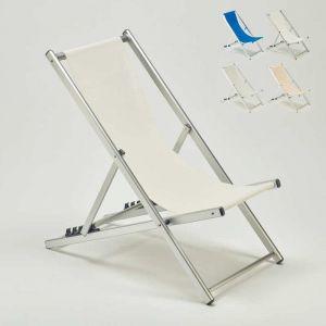 Beach and Garden Design Transat chaise de plage pliant piscine jardin aluminium RICCIONE | Blanc