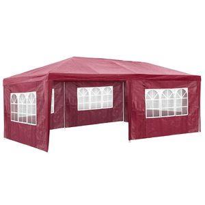 TecTake Pavillon de jardin rouge avec 5 panneaux latéraux