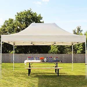 Intent24 Tente pliante / pliable PREMIUM 3x4,5 m sans bâches de côté en Polyester de qualité beige.FR