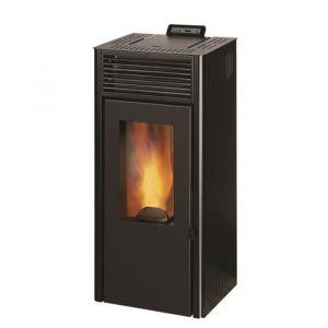 Invicta Nola 8 - 8 Kw - Poêle à granulés étanche modulable de 3,1 à 8 kW - Acier - Rendement : 90 % - Flamme verte 7* - Noir