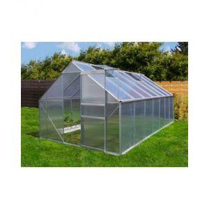 Image de Plantiflex Serre de jardin 13.75 m² en aluminium avec porte et deux fenêtres (250 x 550 cm)