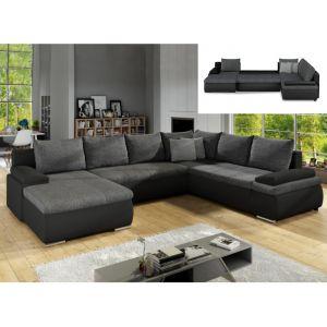Canapé d'angle panoramique convertible et réversible en simili et tissu DAKOTA Bicolore noir et gris