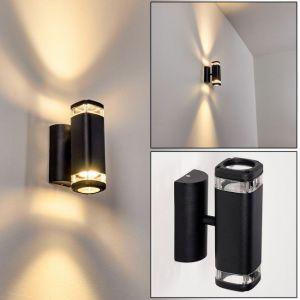 Hofstein Applique murale d'extérieur Corneda en métal noir, lampe murale moderne avec élégant effet lumineux Up & Down, pour 2 ampoules GU10 max. 18 Watt, IP44, compatible ampoules LED