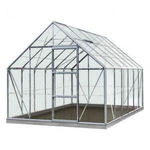 ACD Serre de jardin en verre trempé Olivier - 9,90m², Couleur Gris, Base Avec base - longueur : 3m84