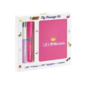 Bic My Message Kit I Am a Princess - Kit de Papeterie avec 1 Stylo-Bille 4 Couleurs/1 Surligneur Highlighter Grip Rose/1 Carnet de Notes A6 Blanc, Pack de 3