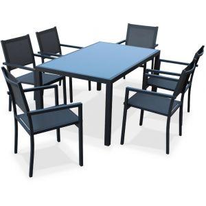 Alice's Garden Ensemble table de jardin et 6 fauteuils en aluminium et textilène