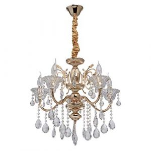 MW-Light 482013105 Lustre Royal à 5 Lampes Bougies Style Baroque en Métal couleur Or décoré de Pampilles en Cristal pour Salle de Séjour Salon 5x40W E14