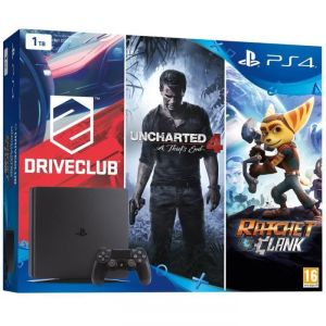 Sony PS4 Slim 1 To + Uncharted 4 : A Thief's End + Driveclub + Ratchet & Clank