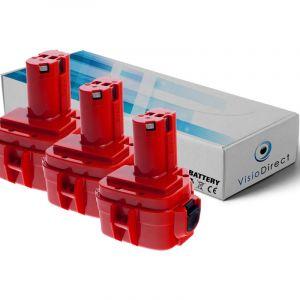 Makita Lot de 3 batteries pour UC120DWDE élageuse électrique 3000mAh 12V
