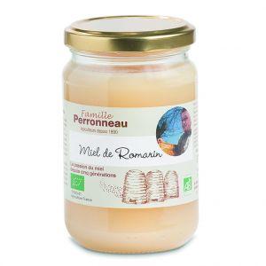 Miel de romarin bio dans pot en verre de 375 g