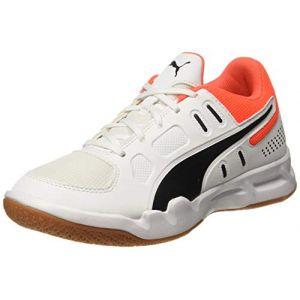 Puma Chaussure Basket Auriz Youth pour Enfant, Blanc/Noir/Rouge, Taille 33
