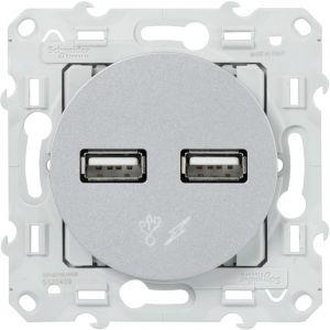 Schneider Electric ODACE CHARGEUR DOUBLE USB ALU SCHNEIDER S530409 (Merlin Gerin)