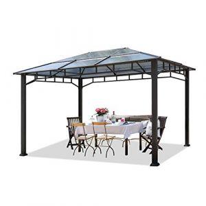 Intent24 Tonnelle de jardin 3x4m structure en Aluminium toit polycarbonate épaisseur 8mm pavillon de jardin rideaux non inclus .FR