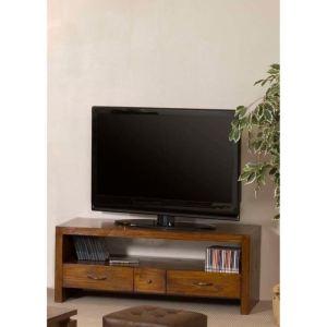 Meuble TV Lauren 3 tiroirs en mindi (50 x 120 cm)