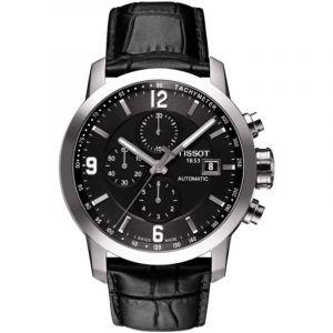 Tissot Montre PRC 200 automatique chronographe cadran noir bracelet cuir noir 44 mm
