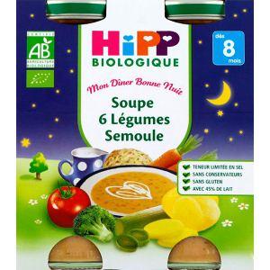 HiPP Biologique Mon dîner Bonne nuit :Soupe 6 Légumes Semoule 2 x 250 ml - dès 8 mois