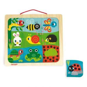 Janod Puzzle magnétique Magneto Puzzle Happy Garden (9 pièces)