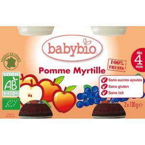 BabyBio Petit Pot Fruit : Pomme-Myrtille 2 x 130g - dès 4 mois