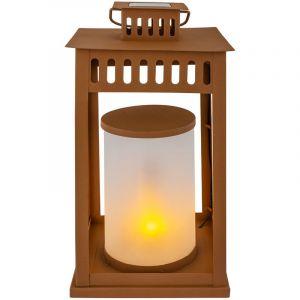 Globo Lampe solaire à LED, lanterne, marron, effet de feu