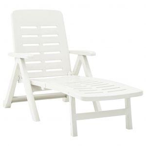 VidaXL Chaise longue pliable Plastique Blanc