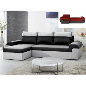 Canapé d'angle réversible et convertible en tissu GABY Bicolore noir et gris clair