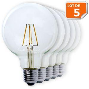 Lampesecoenergie Lot de 5 Ampoules Led Filament Globe G95 Style Edison 7 watt (eq.52 watt) Culot E27