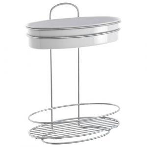 Metaltex Etagère à accrocher ou poser - 2 niveaux - Etagère salle de bain, Tablette de salle de bain