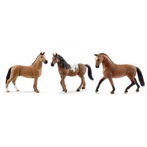 Schleich Figurines de chevaux hanovre (hongre, jument pinto, jument hanovre)