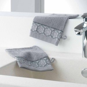 Lot de 2 gants de toilettes Adelie Gris