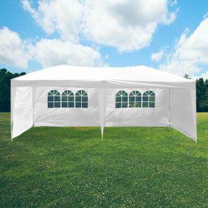 SkyLantern Tonnelle Blanche 3x6M 160g/m² avec Parois - Tonnelle Pliable 3x6M - Barnum Pliant 3x6M pour mariage ou garden-party