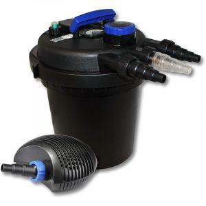 wiltec SunSun Kit de Filtration de Bassin à Pression 6000l avec 11W UVC Stérilisateur et 10W éco Pompe