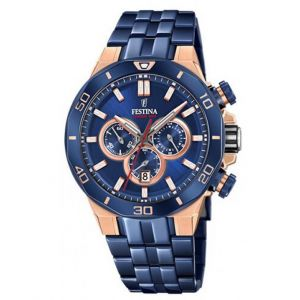Festina Montre F20452-1 - CHRONOBIKE Chronographe,Dateur Bracelet Acier Bleu Boitier Acier Rose Homme