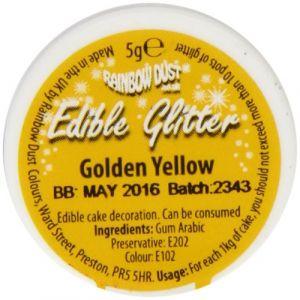 Rainbow dust Pailettes alimentaires jaune or 5g