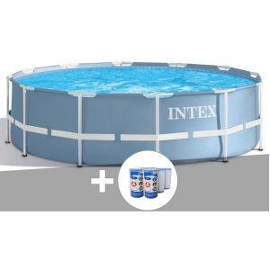 Intex Kit piscine tubulaire Prism Frame ronde 3,66 x 0,76 m + 6 cartouches