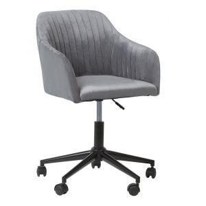 Beliani Chaise à roulettes en tissu gris VENICE