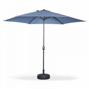 Alice's Garden Parasol droit rond Ø300cm - Touquet Bleu grisé - mât central en aluminium orientable et manivelle d'ouverture