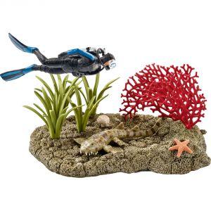 Schleich 42328 - Figurine plongeur dans un récif corallien