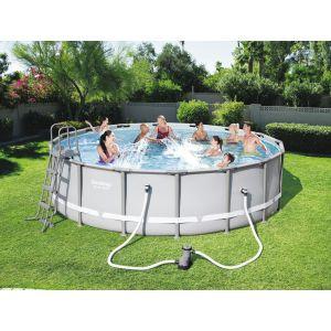 Bestway Piscine ronde tubulaire hors sol complète Steel Pro Frame Pools - Diamètre 4,88 m - Hauteur 1,22 m