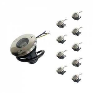 Silamp Spot Extérieur Encastrable LED IP65 220V Sol 3W 45° (Pack de 10) - Blanc Neutre 4000K - 5500K