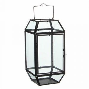 L'héritier du temps Lanterne À Poser Lampe 12 Vitres Lampion Style Industriel Photophore À Suspendre En Fer Et Verre Patiné Noir 17,5x17,5x44,5cm
