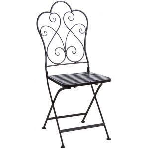 Aubry Gaspard Chaise de terrasse pliante métal vieilli