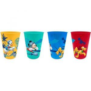4 verres en plastique Mickey