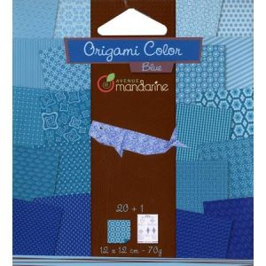 Avenue mandarine Pochette Origami Color 12 x 12 cm bleu