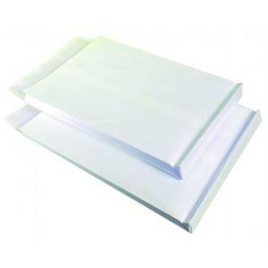Clairefontaine 16450C - Boîte de 250 pochettes à soufflet Adhéclair kraft blanc, adhésive avec bande, 120 g/m², 229x324x30