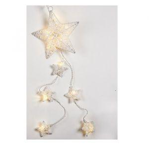 Christmas Dream Suspension de Noël lumineuse Etoile en rotin Blanc 20 cm - Matière : rotin - Longueur : 20 cm - Fonctionne avec 2 piles LR06 non incluses - Coloris : blanc