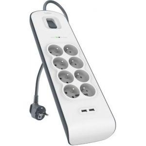 Belkin BSV804CA2M - Multiprise parafoudre 8 prises 2 ports USB (2.4A)